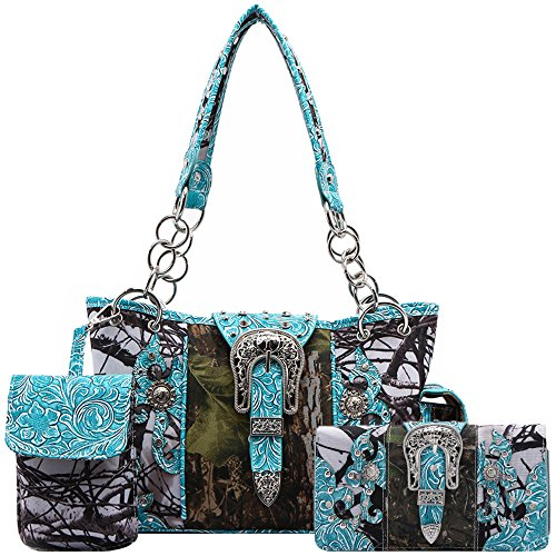 Western Style Camouflage Concealed Carry Purse Buckle Country Studs Women Handbag Shoulder Bag Wallet Set (Turquoise Set)
