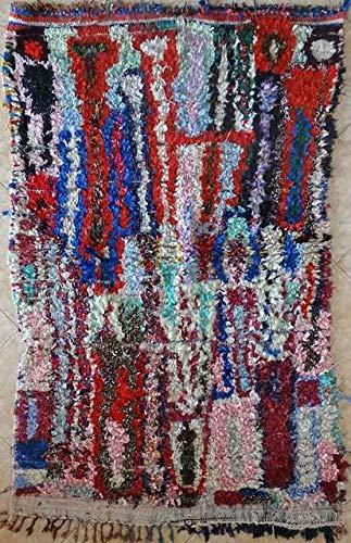 TRIBAL ART MOROCCO 195 x 130 cm 6'4 x 4'3 Zoll T31922 Fleischerouit, Boucharouette, Moroccan Rugs, Berber Rugs