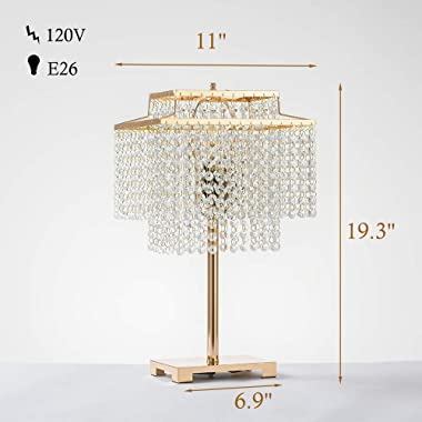 Popity home Gorgeous Double-Deck Bedside Crystal Table Lamp,Gold Desk Lamps with Elegant Crystal Shade,Nightstand Chandelier