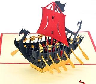medigy 3d Pop Up Tarjetas de felicitación en blanco tarjetas para más occastions (dragón barco), color negro