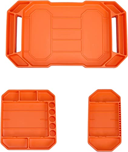 2021 Flexible Tool Tray, Baowox high quality 3pcs Automotive Non-slip Original Non-magnetic Silicone Tool Tray, Large Tool Organizer online and Storage Securely Form (Orange) online sale