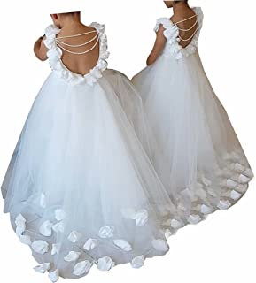 Boloni Dress First Communion Dress Little Flower Train and Back Hollow Out Pearls Flower Girl Dress 2-14