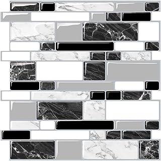 Render 6 Unidades 3D autoadhesiva Etiqueta engomada del azulejo de la Pared, pelar y Pegar Vinilo Wallpaper Anti Molde baño decoración de la Cocina 0.9 sq.ft/Piece (New Estilo de mármol Blanco Negro)