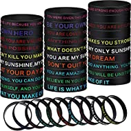 40 Pieces Motivational Silicone Wristbands Inspirational Rubber Bracelets with Positive Messages for Party Favors, Gifts for Men Women,10 Styles (Classic Style)