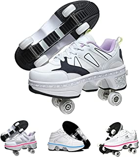 LED Women Deformation Roller Skate Shoes ,Double-Row Walking Shoes with Invisible Wheels