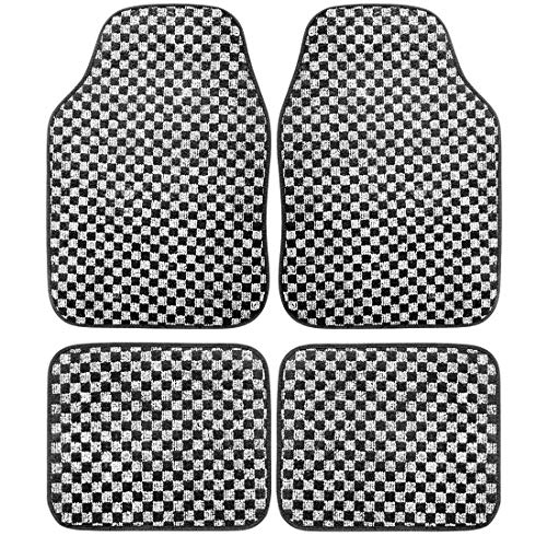 TANYOO Carpet Car Floor Mats for Women, All Weather Protection Floor Mats for Cars Trucks SUV, Heavy Duty Rubber Auto Floor Liners for Women, Black Gray Full Set【4 Piece】