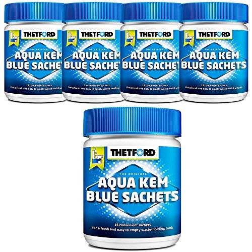 Thetford LOT 5 X Aqua KEM Blue SACHETS WC Chimique Entretien Caravane Toilettes Produit
