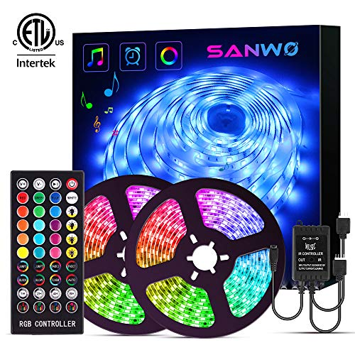 LED Strip Lights with Remote - 32.8ft RGB LED Light Strip Music Sync for Room...