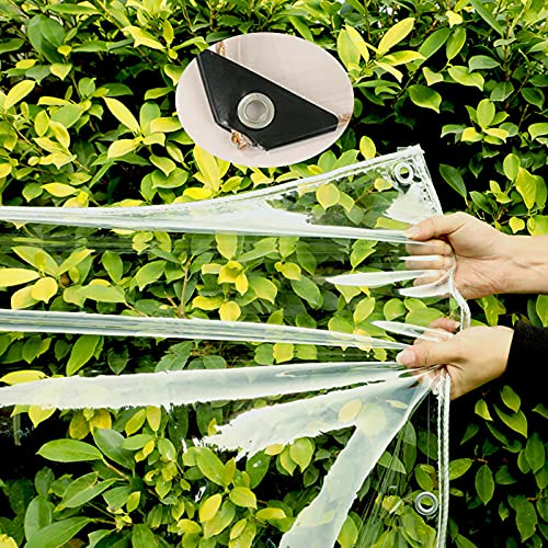 WANGXIAO Lona Impermeable Transparente,Lonas Transparentes con Ojales Resistente Polvo Resistente La Rotura Prueba De Lluvia Cubierta Impermeable para Proteger Las Plantas,1.8 * 1.8m/5.9 * 5.9ft