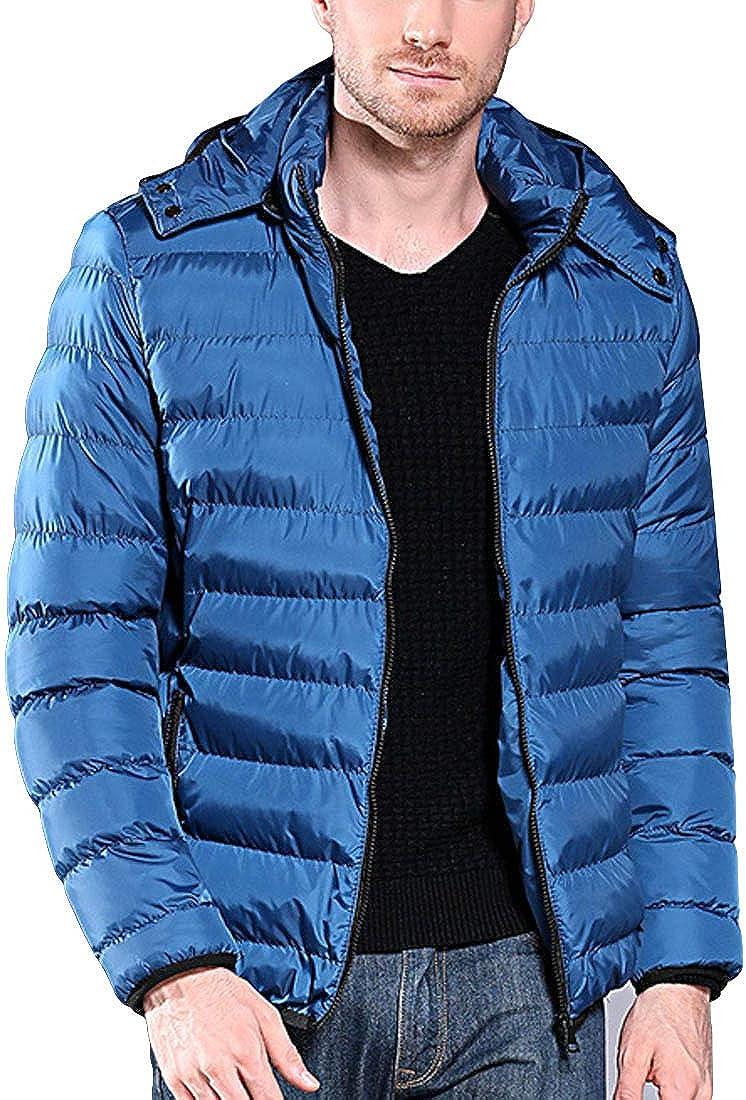 LuckyBov Men Classic Packable Puffer Jacket Winter Lightweight Hooded Coat