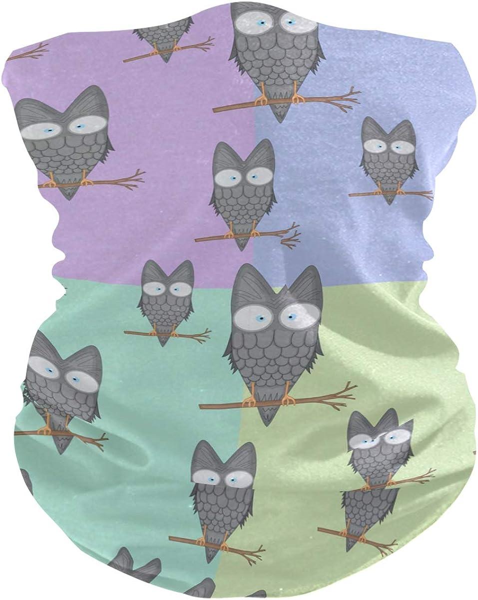 Face Mask Bandana for Women Men, Owls Pattern Neck Gaiter Balaclava Face Cover Sun Dust Mask Magic Scarf Headwear