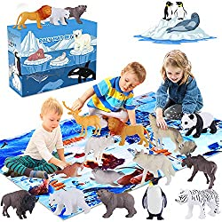 commercial GINMIC polar animal figures, toys with large playmats, educationally realistic animals … realistic animal figures
