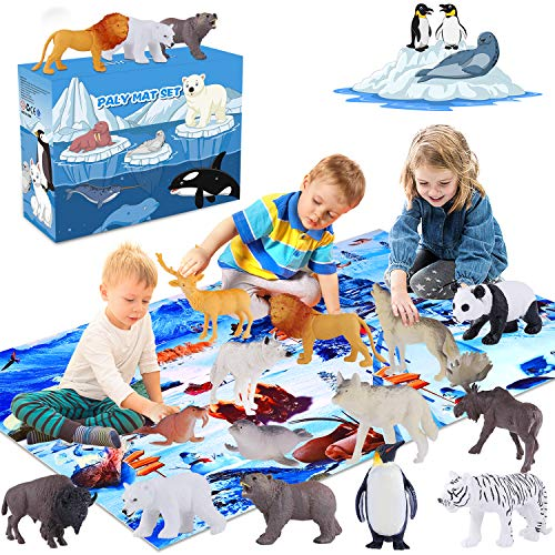 GINMIC Polar Animals Figurines Toys with Large Activity Play Mat, Educational Realistic Animal Figures Toys Playset Including Penguin, Polar Bear and More, for 3 4 5 6 7 8 Boys & Girls