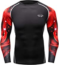 HeatGear Armour Compression Shirt,Londony 🍁 Men's Workout Compression Shirt Gym Fitness Baselayer Compression Top Red-p