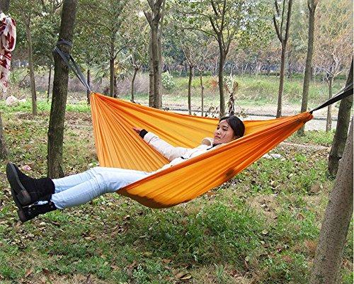 Happy Little Sheep Outdoor Leisure - Hamaca doble de tela de paracaídas, color naranja