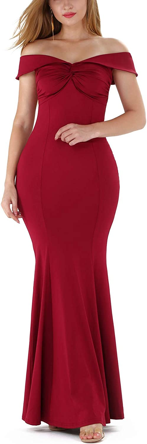 IyMoo Woman Bodycon Evening Gowns Dress Sexy Off Shoulder Mermaid Evening Maxi Party Long Dress
