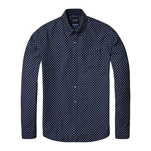 Scotch & Soda AMS Blauw Slim Fit Allover Printed Shirt in Seasonal Pattern Manches Longues, Multicolore (Combo B 18), XX-Large Homme
