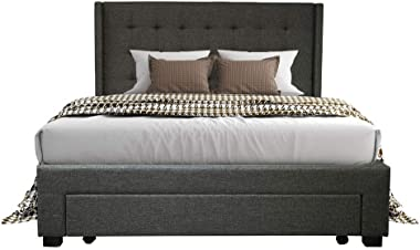 PU Upholstered Fabric Wooden Bed Frame Double Storage Drawer Dark Grey