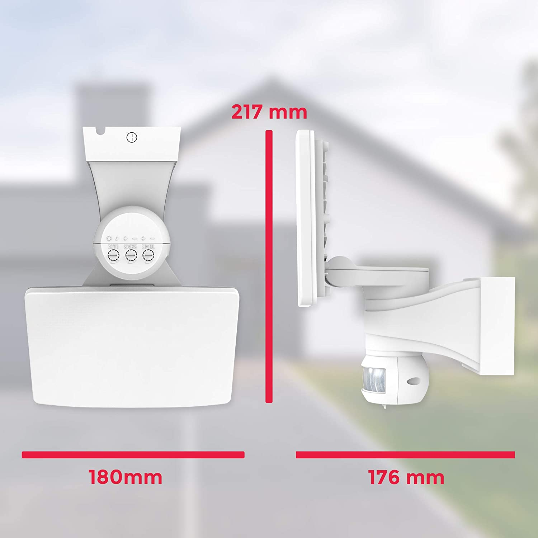 LED Wandleuchte   Fluter mit Bewegungsmelder   Außenleuchte   Wandlampe   weiß   inkl. 20W LED Platine   2300lm   4000K neutralweiß   IP44 Weiß