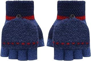 Clenp Mitones de mitad de dedo – Guantes de invierno gruesos cálidos de medio dedo Flip Top guantes de punto guantes de es...