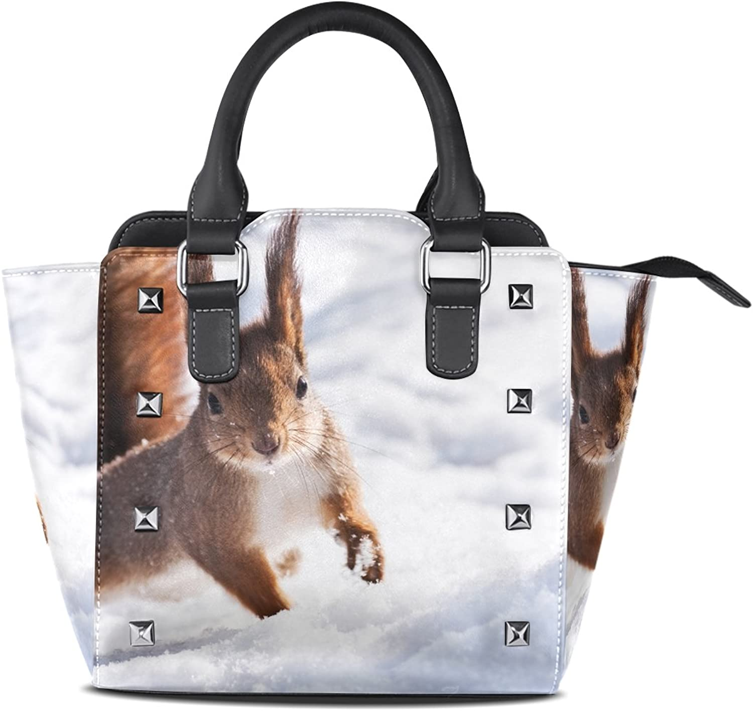 Sunlome Squirrel Winter Snow Print Handbags Women's PU Leather Top-Handle Shoulder Bags