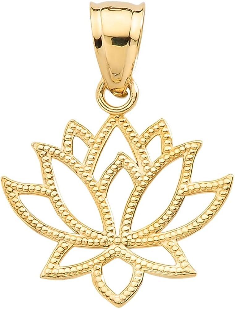 14k Yellow Gold Open Design Lotus Flower Pendant