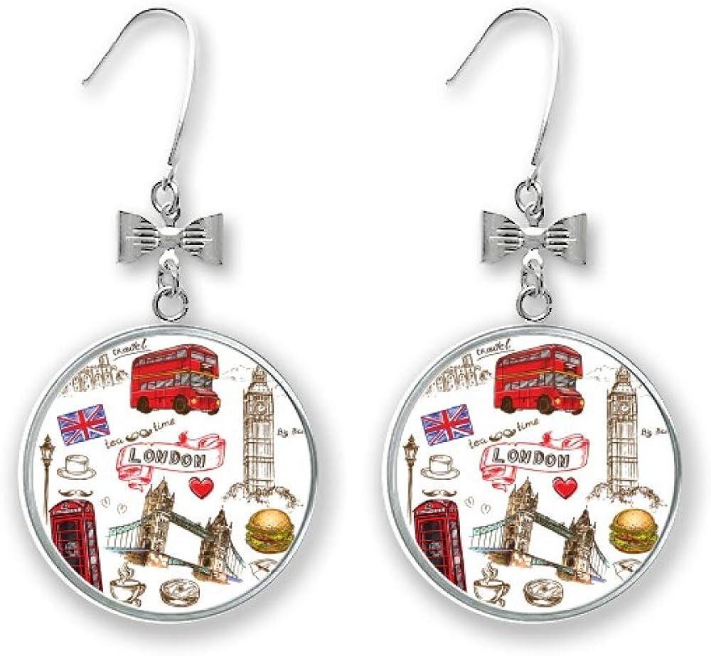 Heart Tower Bus unisex depot Car UK Hamburger Drop Stud Earrings Bow Pierced