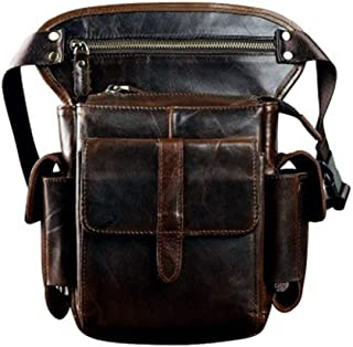 Leather Men Crazy Horse Messenger Crossbody Shoulder Bags Travel Motorcycle Riding Fanny Pack Waist Belt Bags Thigh Drop Leg Bag (Color : Coffee, Size : S)