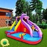 CATLXC Home Use Kids Hippo Outdoor Inflatable Water Slide for Kids Deluxe Inflatable Water Slide Splash Park