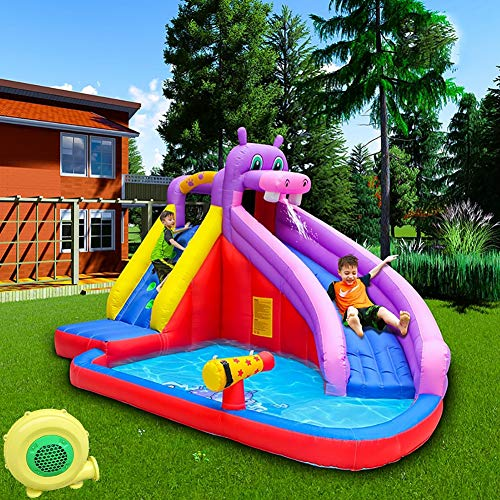 Heavy opblaasbare glijbanen te koop Hippo Huis van de Sprong met Air Blower for Kids Summer Party