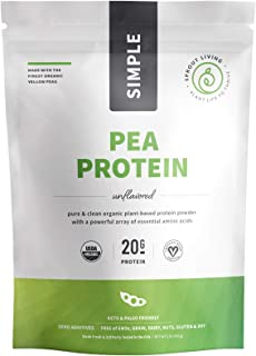 Sprout Living Organic Pea Protein Powder, 20 Grams Organic Plant Protein, Vegan, Gluten Free, No Dairy, No Additives (16 oz, 19 Servings)