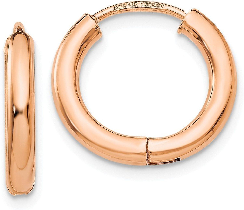 14K pink gold Polished Hollow Hinged Hoop Earrings