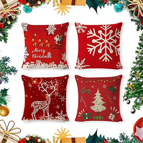 onehous Set di 4 federe per Cuscini di Natale, 45 x 45 cm, quadrate, federe in Cotone e Lino, 45 x 45 cm, Serie Natalizie, con Cerniera, per Divano, Auto, Decorazione Natalizia