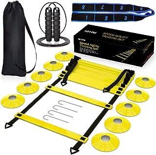 مجموعه تجهیزات آموزش سرعت نردبان چابکی ، شامل نردبان سرعت 12 رینگ 20 FT ، طناب پرش ، باند مقاومت ، 4 سهام فولادی ، کیف حمل