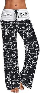 Pantalones de Pierna Ancha bloqueados Negros Mujeres Streetwear de Verano Pantalones de Cintura Alta Elástico Casual Gato Impresiones Pantalones Largos con cordón