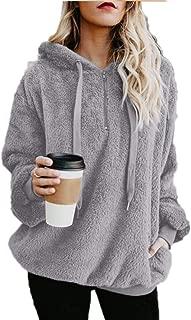 Eslove Women Warm Plush Fleece Sweatshirt Hooded Solid Zipper Fluffy Hoodies Pullover Long Sleeve Sweatshirt