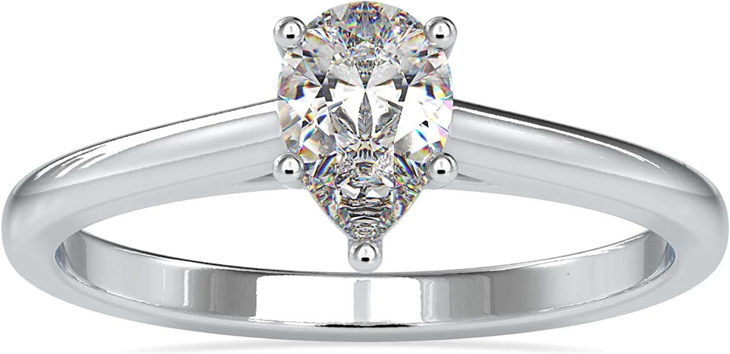 Diamondrensu Solitaire New York Mall Engagement security Ring 0.53 Cut Colorle CT Pear