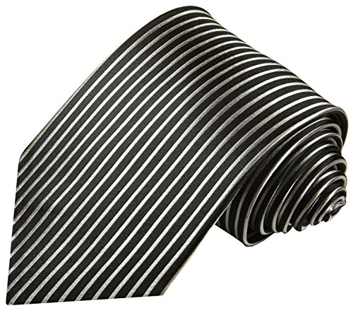 Cravate homme noir argenté rayée ensemble de cravate 2 Pièces ( longueur 165cm )