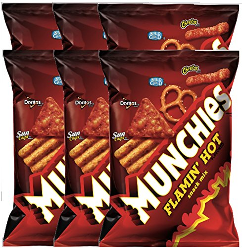 Munchies Flamin' Hot Snack Mix Net WT. 3 Oz Snack Care Package For College, Military, Sports (6)