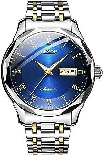 Aesop Men Luxury Analog Japanese Automatic Self Winding Mechanical Day Date Wrist Watch with Tungsten Steel Band Luminous
