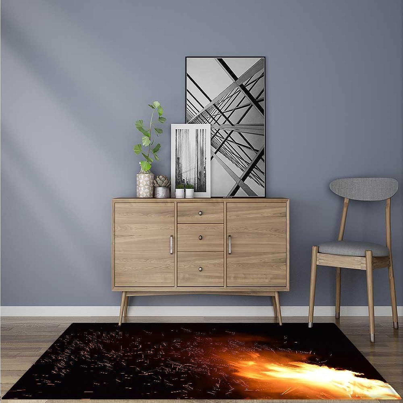 Indoor Outdoor Floor Mat A Flaming Flame Easy Clean 5' X 7'
