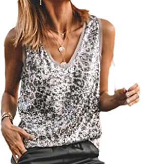 Yisism Women's Slim Fit V Neck Sleeveless Sequins Sexy T-Shirt Blouse Tank Tops