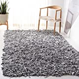 Safavieh Leather Shag Collection Hand Woven White Leather Area Rug (4' x 6')