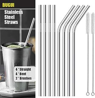 "BUGUI Metal Straws, Set of 8, 10.5"" Ultra Long 6mm Wide, Reusable Stainless Steel Straws for 30 40 oz YETI Rumbler RTIC SIC Ozark Trail Tumbler, 4 Straight + 4 Bent Straws, Bonus 2 Cleaning Brushes"