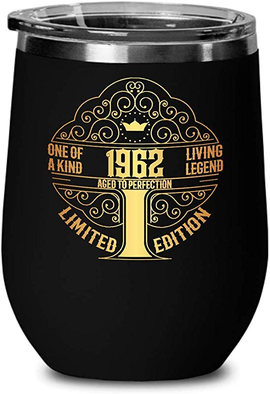1962 57th Birthday Gifts For Women And Men Wine Glass Tumber Aged To Perfection 12 Oz Stainless Steel Wine Glass With Lid 57 Years Old Vintage Monogram Insulated Black Cup Anniversary Gift Ideas
