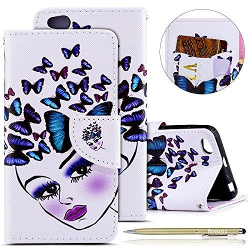 Herbests Kompatibel mit Leder Hülle Xiaomi Redmi 4A Handytasche Brieftasche Handyhülle Flip Hülle Bunt Lederhülle Leder Tasche Klapphülle Magnetverschluß Ständer Klapptasche,Schmetterling Frauen