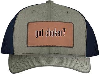 One Legging it Around got Choker? - Leather Dark Brown Patch Engraved Trucker Hat