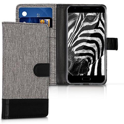 kwmobile Hülle für Ulefone Power 2 - Wallet Case Handy Schutzhülle Kunstleder - Handycover Klapphülle mit Kartenfach & Ständer Grau Schwarz