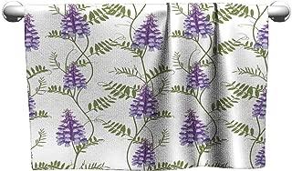 Khaki home a Towel Seamless Pattern Wildflowers Bindweed Bird Vetch Canada Pea Beach Towel Scrub Towel 8 x 24 Inch