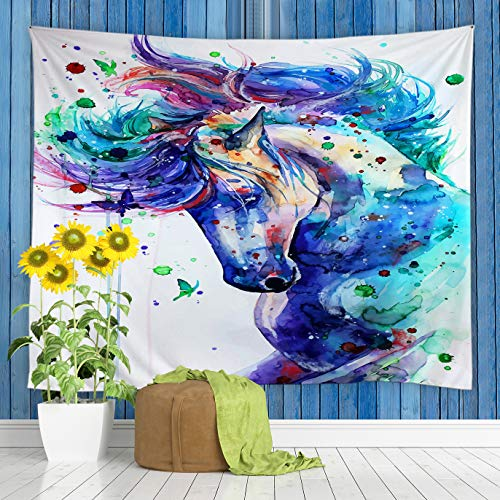 jingjiji Watercolor Horse Tapestry Fantasy Fairy Tale Animal Forest Abstract Colorful Butterfly Hippie Art Wall Hanging Tapestries Decor Bedroom Living Room Dorm Polyester Fabric 90 x 71 Inch Blue